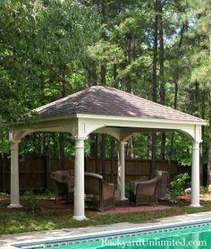 "12'x14' Traditional Vinyl Pavilion with optional 10"" Columns--Amish made and available in California http://www.backyardunlimited.com/pavilions"