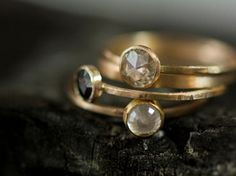 ring stack | Engagement Ring Rose Cut 5mm Moissanite in Recycled 14k Yellow Gold Eco Friendly Metal on Etsy, $645.00