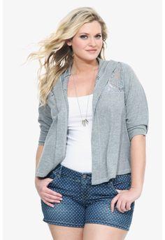 Grey Lace Back Hoodie.