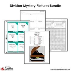4th Grade Division Mystery Pictures Coloring Worksheets/Task Cards Bun - Printables & Worksheets 4th Grade Math Worksheets, Problem Set, Coloring Worksheets, Multiplication And Division, Word Problems, Task Cards, Mystery, Printables, Teaching