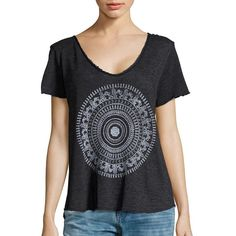 Design Lab Lord & Taylor Medallion Graphic Tee ($48) ❤ liked on Polyvore featuring tops, t-shirts, black, oversized t shirt, short sleeve t shirts, graphic t shirts, short sleeve graphic tees and distressed tee