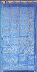 "Blue Elephant Pair Brocade Curtain - Stylish Lined Indian Window Panel 92"""