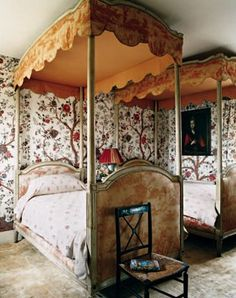 Bedroom in Wiltshire house of Gela Nash-Taylor and John Taylor.