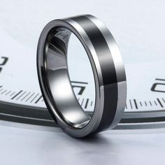 Black Ceramic Inlaid Polished Tungsten Carbide Ring - Tungsten Republic,there are couple rings