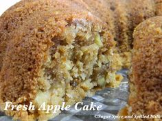 Sugar Spice and Spilled Milk: Fresh Apple Cake - use one cup apple butter/sauce, and cup of oil Apple Cake Recipes, Baking Recipes, Dessert Recipes, Apple Cakes, Cookie Recipes, Fresh Apple Cake, Fresh Apples, Just Desserts, Delicious Desserts