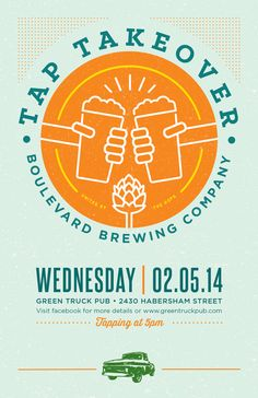 promo poster for Green Truck Pub Tap Takeover with Boulevard Brewing