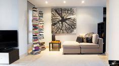 Salón vivienda en la Moraleja Luz Natural, Small Space Living, Small Spaces, Bookcase, Shelves, Couch, Furniture, Madrid, Home Decor