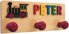 Maple Landmark Personalized Coat Rack with Medalion | Kids Wall Shelves