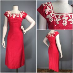 Vtg 50s Dress Linen Bombshell Beaded Square Neck Wiggle Ruby Pink Jerry Gilden #JERRYGILDENSPECTATOR #TrimDartedfitWiggleLongSheath #Starlet #CocktailParty #Wedding #50sFashion #50s #jerrygilden