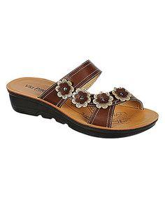 Loving this Brown Rylee Flower Sandal on #zulily! #zulilyfinds