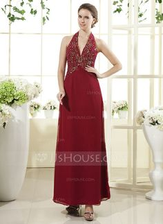 Mother of the Bride Dresses - $138.99 - A-Line/Princess Halter Ankle-Length Chiffon Mother of the Bride Dress With Beading Sequins (008015452) http://jjshouse.com/A-Line-Princess-Halter-Ankle-Length-Chiffon-Mother-Of-The-Bride-Dress-With-Beading-Sequins-008015452-g15452
