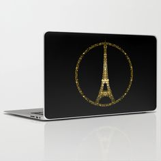 Eiffel Tower gold sparkles peace symbol Laptop & iPad Skin #PLdesign #PrayforParis #GoldSparkles #SparklesGift