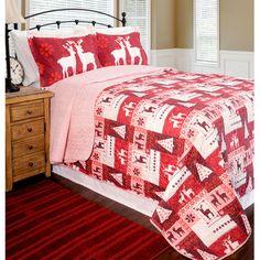 Pegasus Home Fashions Home ID Christmas Lodge Quilt Set - Size: Twin