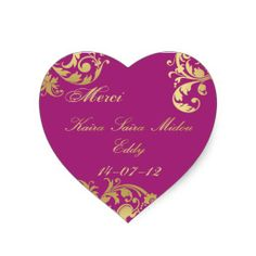 Merci Seal - Fuschia & Gold Floral Wedding Sticker