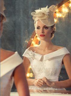 Jazz sounds on Behance. Wedding Gown with Gorgeous Neckline & Beading. Vestidos Vintage, Vintage Dresses, Bridal Dresses, Wedding Gowns, Ivory Wedding, Wedding Hair, Russian Wedding, Retro Mode, The Dress
