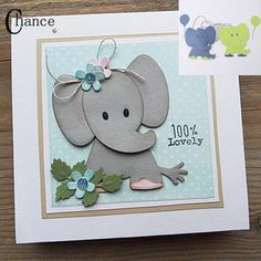 Babies Marianne Design Collectables Schneidwerkzeuge - Elines Elefant thing in front of it. Boutique Scrapbooking, Marianne Design Cards, New Baby Cards, Animal Cards, Diy Scrapbook, Creative Cards, Kids Cards, Handmade Baby, Homemade Cards