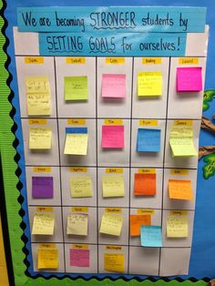 4 Really Cool Ways Teachers Use Post-it Notes in the Classroom Fourth Grade Literacy Lovers: Goal Setting in the Classroom 5th Grade Classroom, School Classroom, Year 3 Classroom Ideas, Kindergarten Classroom, Creative Classroom Ideas, Bulletin Board Ideas For Teachers, Classroom Data Wall, Classroom Timeline, Writing Bulletin Boards