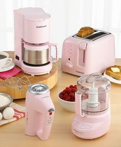 Cuisinart Pink Appliances - a portion of proceeds from sales will be donated to breast cancer research. Pink Love, Pretty In Pink, Pastel Kitchen, Pink Kitchen Decor, D House, Pink Houses, Small Appliances, Pink Kitchen Appliances, House Appliances