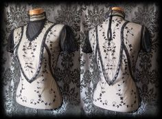 Goth Black Lace Bib Detail VICTORIAN GOVERNESS High Neck Blouse 8 10 Steampunk - £29.00
