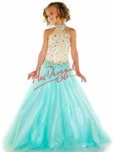 High Collar Aqua Little Girls Pageant Dress | Mac Duggal 82211S