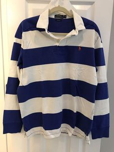 Polo Ralph Lauren Blue White LS Rugby Shirt Custom Fit LARGE VTG 90s yellow pony | Clothing, Shoes & Accessories, Men's Clothing, Casual Shirts | eBay!