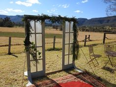 Rustic antique doors are perfect for a country ceremony to frame the view ceremony doors wedding valley Wedding Doors, Wedding Ceremony, Wedding Greenery, Wedding Flowers, South Coast Nsw, Greenery Garland, Antique Doors, Special Day, Kangaroo