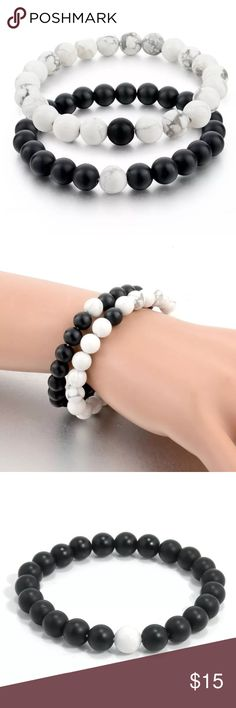 GENUINE Howlite Black & White Bracelets ❤️ NWOT (straight from the manufacturer before they hit the stores). Matching black & white marbleized Howlite bracelets. You will get BOTH bracelets (2 for the price of 1!!) These are genuine Howlite beads, no fake plastic junk here! 😉 Perfect for dressing up that cute t-shirt & jeans or just adding a touch of whimsy for the dressier outfit. 👚👖👗💋 Jewelry Bracelets