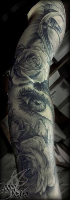 Black & Gray Rose Flower Tattoo Sleeve - Emmy van de Giessen http://tattoosflower.com/black-gray-rose-flower-tattoo-sleeve-emmy-van-de-giessen/ 8531 Santa Monica Blvd West Hollywood, CA 90069 - Call or stop by anytime. UPDATE: Now ANYONE can call our Drug and Drama Helpline Free at 310-855-9168.