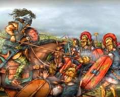 Charge of the Gallic cavalry against Roman legionaries