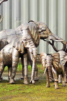 Kenyan Recycled Metal Elephant Sculptures