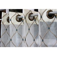 Geometric Diamonds Stitch Embroidery Sheer by TheHomeCentric, $195.00