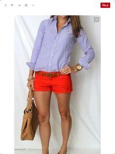 Button up chambray, belt, orange shorts. Stitch fix. Preppy 2016