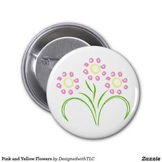 Pink and Yellow Flowers 2 Inch Round Button