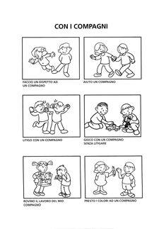 Coping Skills, Social Skills, Life Skills, Kindergarten Worksheets, Preschool Activities, Friendship Activities, English Lessons For Kids, Classroom Language, Learning Italian
