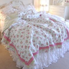 shabby cottage chic pink heather roses ruffle queen cabana stripes quilt u0026 pillow shams