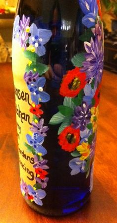 hand painted #winebottle available special order with any picture you want on any type of wine/liquour or with gel beads, lights, confetti. Great for #wedding #holidays #birthday #christmas  Starting at $25  follow or msg me on facebook for special orders or available paintings and prints for sale https://www.facebook.com/CelisesPaintings