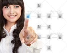business partner by odua. Businesswoman looking for business partner on modern technology screen