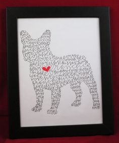 Could do this with any shape!!! love it French Bulldog Illustration Print by ManayunkCalligraphy on Etsy, $15.00