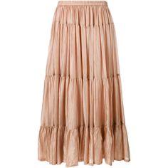 Mes Demoiselles Tabatha Silk Maxi Skirt (€285) ❤ liked on Polyvore featuring skirts, tan, bohemian skirt, a line maxi skirt, long skirts, silk maxi skirt and tiered skirt