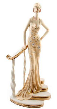 Art Deco Broadway Belles Lady Figurine. Peach Colour.