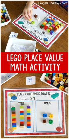 Hands-On Place Value Math Activity with Lego BricksYou can find Lego math and more on our website.Hands-On Place Value Math Activity with Lego Bricks Math Activities For Kids, Fun Math Games, Montessori Activities, Math For Kids, Educational Activities, Place Value Activities, Counting Games, Educational Websites, Place Value Worksheets