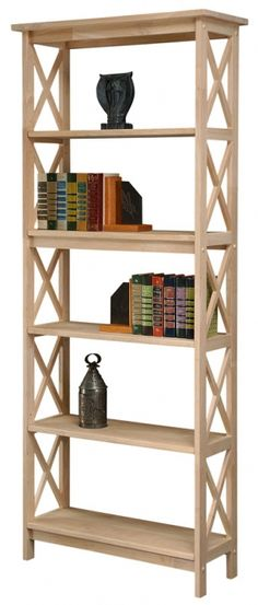Solid Parawood Bookcase with X Side Pattern 72h Unfinished