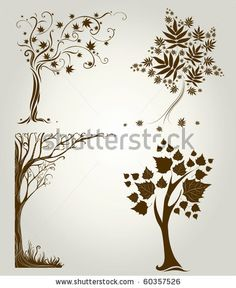 Vector set 3 of designs with decorative tree from leafs. Thanksgiving by Kynata, via ShutterStock