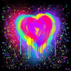 Colorful rainbow painted heart