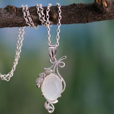 Sterling Silver 'Luminous Illusion' Moonstone Necklace (India)