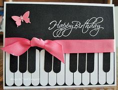 handmade birthday card .. black and white with a pop of pink ... design of a piano keyboard ... like the way the keys are done ...