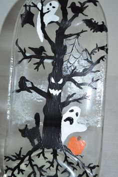 Hand Painted Halloween Ghost Clear Glass Wine Bottle by oldcargirl, $32.00