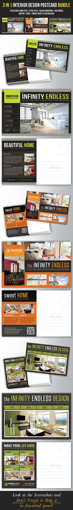 3 In 1 Interior Design Postcard Template Bundle 02