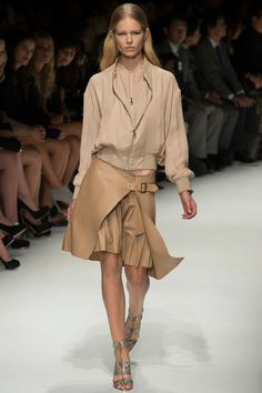 Salvatore Ferragamo Spring 2014 RTW. nudes. flared skirt. layered skirt. buckle. track jacket. luxe sport. snake. #SalvatoreFerragamo #Spring2014 #MFW