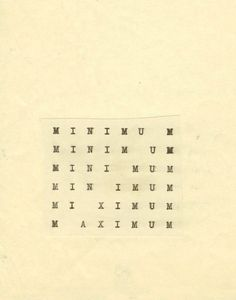 ŻAK   BRANICKA: MINIMUM MAXIMUM - Stanisław Dróżdż, Carl Andre, Robert Barry